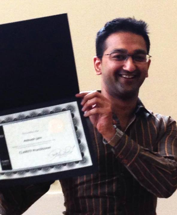 Ankush is proudly showing his certificate for completing the 1o months Clarity Practitioner Program